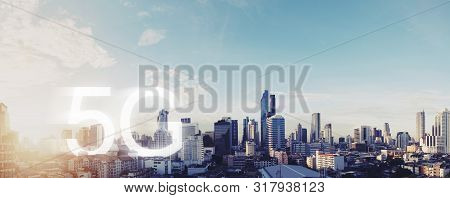 5g Wireless Internet Network In The City. Panoramic Bangkok City With 5g Internet Networking