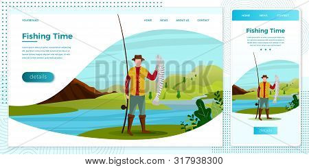 Vector Cross Platform Illustration Set - Fisherman On River With Catched Fish. Forests, Trees, Mount