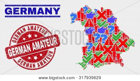 Sign Mosaic Germany Map And Seal Stamps. Red Round German Amateur Distress Seal. Colored Germany Map