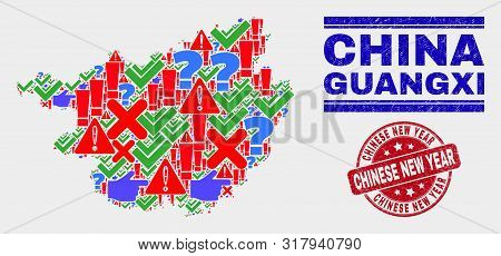 Sign Mosaic Guangxi Province Map And Seal Stamps. Red Round Chinese New Year Scratched Seal. Bright