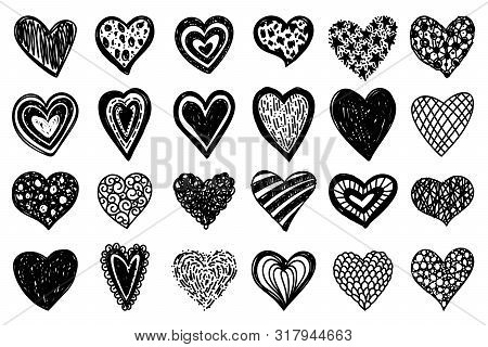 Heart Hand Drawn Style. Doodle Love Icons Set. Monochrome Scribble Sketch Hearts Sign With Arnament