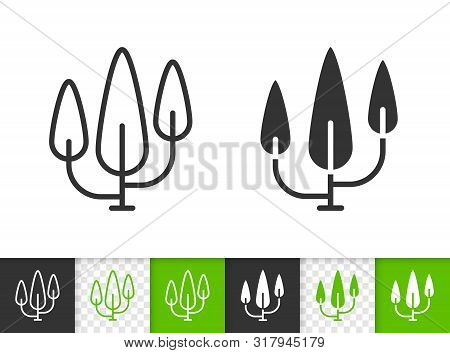 Cypress Black Linear And Silhouette Icons. Thin Line Sign Of Poplar. Geometric Tree Outline Pictogra