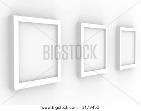 Picture gallery with frameworks of white color poster