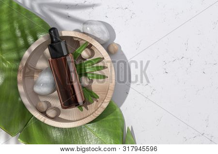 Dropper Bottle Mockup. Top View Of Opened Hyaluronic Acid Serum Bottle And Tropical Leaf. Natural Or