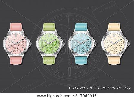 Realistic Clock Watch Chronograph Pastel Collection On Dark Grey Design Luxury Vector Illustration.
