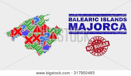Symbol Mosaic Majorca Map And Seal Stamps. Red Rounded No Sugar Grunge Seal. Colorful Majorca Map Mo