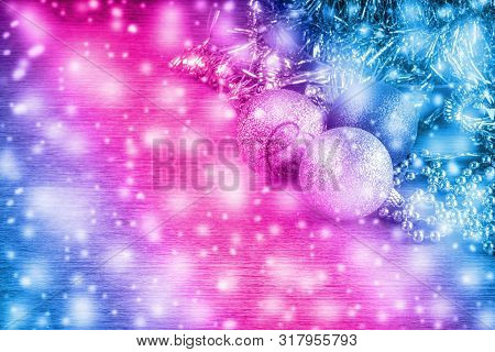 Neon Light Christmas Background With Copy Space