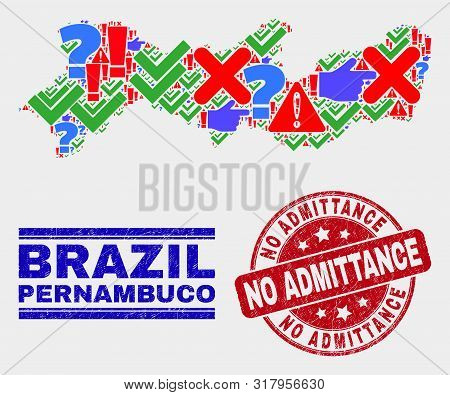 Symbolic Mosaic Pernambuco State Map And Seal Stamps. Red Round No Admittance Grunge Seal. Bright Pe