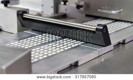 Capsule Medicine Pill Production Line, Industrial Pharmaceutical Concept.