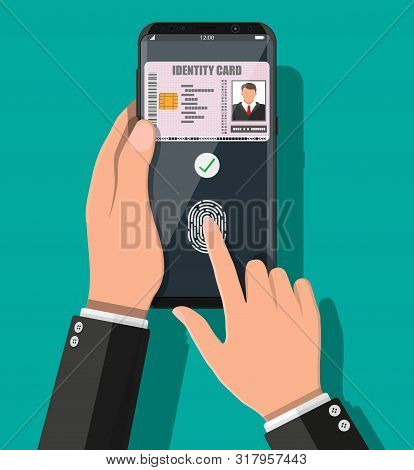Electronic Password. Password And Fingerprint Security Authorization. Hand With Smartphone Id Card A