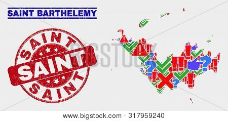 Symbolic Mosaic Saint Barthelemy Map And Seal Stamps. Red Round Saint Scratched Seal Stamp. Bright S