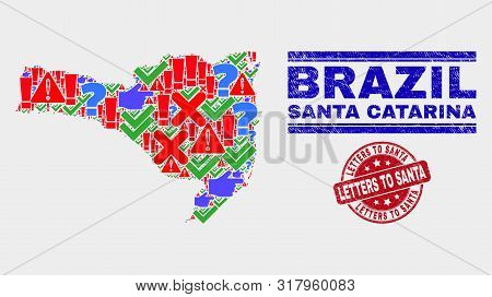 Symbolic Mosaic Santa Catarina State Map And Watermarks. Red Rounded Letters To Santa Grunge Seal. B