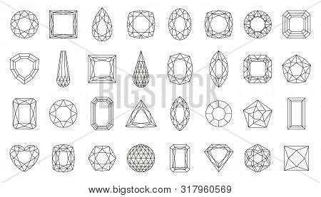 Diamond Faceting Thin Line Icon Set. Gem Collection Of Simple Outline Signs. Jewel Symbol In Linear