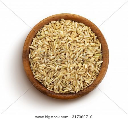Brown Rice Groats Isolated On White Background, Top View