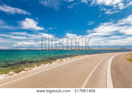 Road Along The Sea Coast On The Island Of Vir In The Zadar County Of Croatia, Europe.