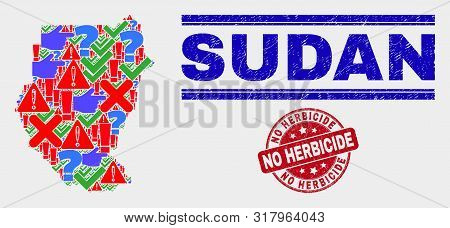 Symbolic Mosaic Sudan Map And Seal Stamps. Red Rounded No Herbicide Scratched Seal. Bright Sudan Map