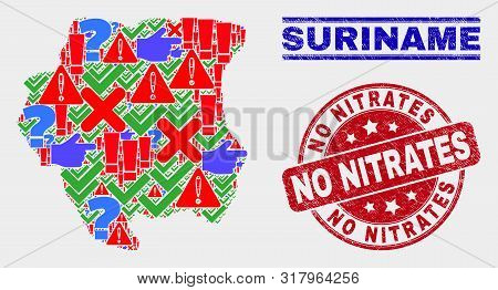 Symbolic Mosaic Suriname Map And Seal Stamps. Red Round No Nitrates Textured Watermark. Colorful Sur