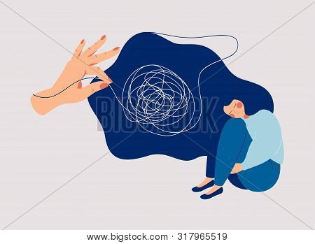 Psychotherapy And Psychology Help With Depressive Disorders. Helping Hand Unravels The Tangle Of Tho