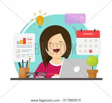 Multitasking Business Woman Person Working Hard But Happy On Office Table Desk Vector, Flat Cartoon