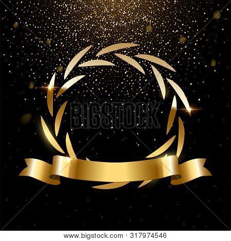 Realistic Round Gold Laurel Wreath With Text Space. Premium Insignia, Traditional Victory Symbol On