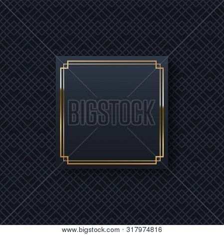 Golden Frame Minimalistic Template With Text Space. Elegant Square Border With Shiny Gradient Effect