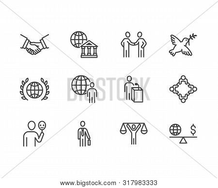 Diplomacy Flat Line Icons Set. Global Politics, Handshake, International Business, Presentation Vect