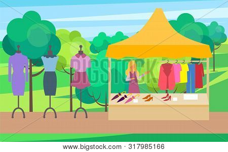 Salesperson With Clothes For Women Vector, Summer Or Spring Fair For Female. Fashionable Clothing Dr