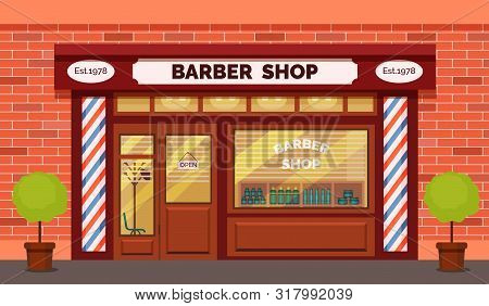 Vintage Barber Shop Store Facade With Storefront