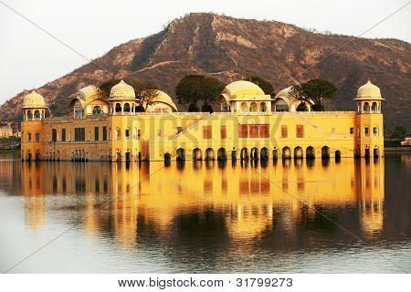Water Palace (Jal Mahal) in Man Sagar Lake. Jaipur, Rajasthan, India. 18th Century. The palace Dzhal-Mahal