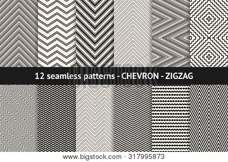 Chevron Pattern Collection. Vector Geometric Seamless Textures With Stripes, Lines, Streaks, Zigzag