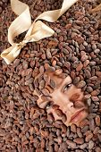 beautiful caucasian girl with chocolate is on a cocoa beans poster