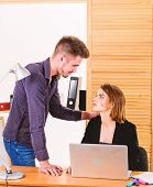 Sexual attraction. Pretty woman threatened by sexual humiliation. Suffering sexual abuse at work. Young man forcing his female colleague for sexual favours in office poster