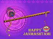 Vector design of Lord Krishnas bansuri flute on Happy Janmashtami holiday festival background poster