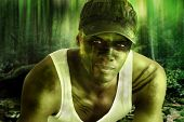 Stylized fantasy portrait of a cool army hero guy with face paint and camo hat in dark mysterious jungle war setting poster