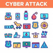 Color Cyber Attack Elements Icons Set Vector Thin Line. Virus In Email Message And Malware, Infected Flash Drive And Smartphone Ddos Attack Linear Pictograms. Illustrations poster