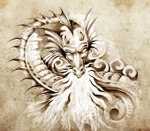 Sketch of tattoo art, fantasy medieval dragon with white fire poster