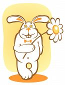 Happy rabbit and chamomile on a yellow background. poster