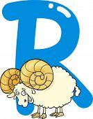 cartoon illustration of R letter for ram poster