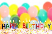 Happy birthday lit candles on colorful balloons background poster