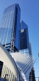 New York, New York / United States of America - August 9 2019:A photo of Oculus Building NYC Glass Building Skyscraper.
