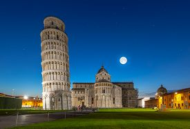 Night View Of Pisa Cathedral With Leaning Tower Of Pisa On Piazza Dei Miracoli In Pisa, Tuscany, Ita