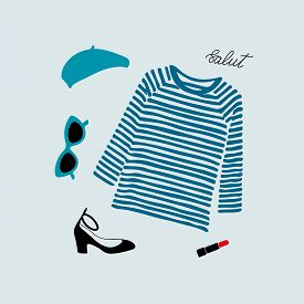 Stylish Parisian Outfit Illustration With Blue Striped T-shirt, Shoes, Sunglasses, Beret And Red Lip
