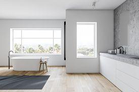 White And Stone Loft Bathroom Interior