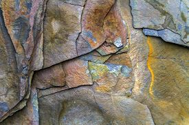 Colorful Rock Face With Fractures And Layers, Newfoundland