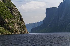 Lake And High Cliffs At Western Brook Pond, Newfoundland