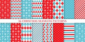 Christmas Pattern. Holiday Seamless Background. Vector. Xmas New Year Endless Texture With Gift, Sno