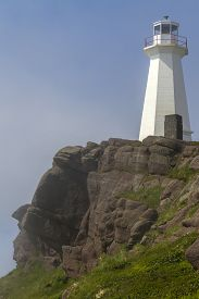 Cape Spear Lighthouse In High Stone Cliff, Newfoundland