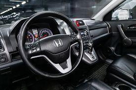 Novosibirsk, Russia - July 31, 2019:  Honda Cr-v, Close-up Of The Dashboard, Speedometer, Tachometer