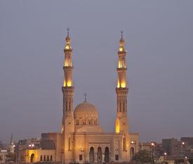Mosque lights at night, Aswan, Egypt.