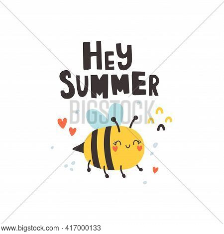Vector Illustration Of Cute Bee And Hey You Text